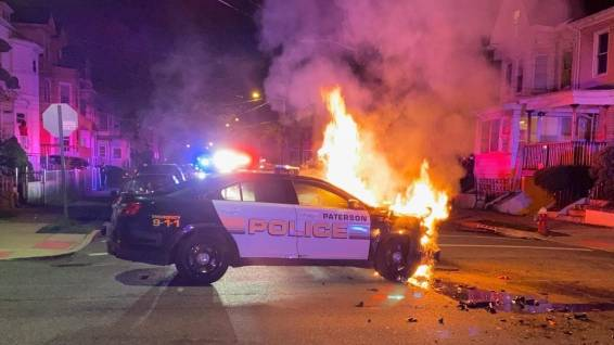 POLICE CARS ON FIRE